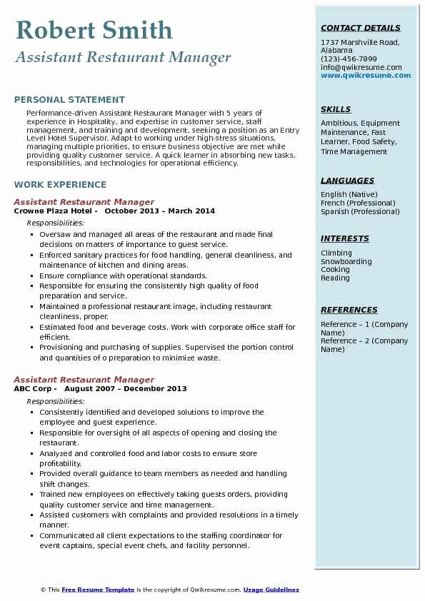 Restaurant General Manager Resume Samples Inspirational assistant Restaurant Manager Resume Samples