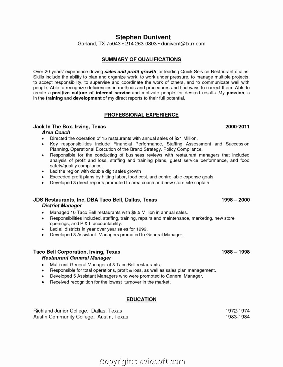 Restaurant General Manager Resume Samples Inspirational Executive Restaurant assistant General Manager Resume