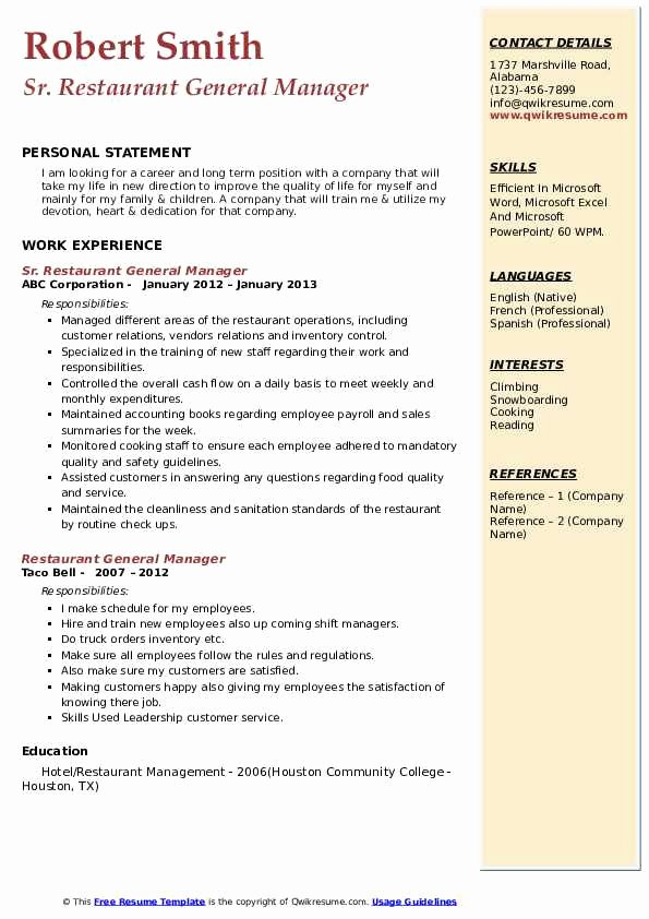 Restaurant General Manager Resume Samples Lovely Restaurant General Manager Resume Samples