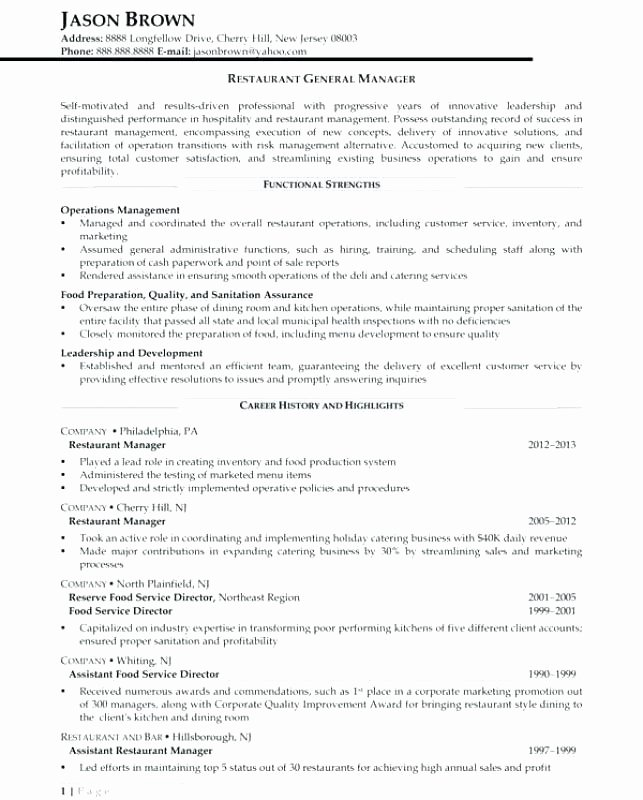 Restaurant General Manager Resume Samples New 4 5 Restaurants Resume Examples