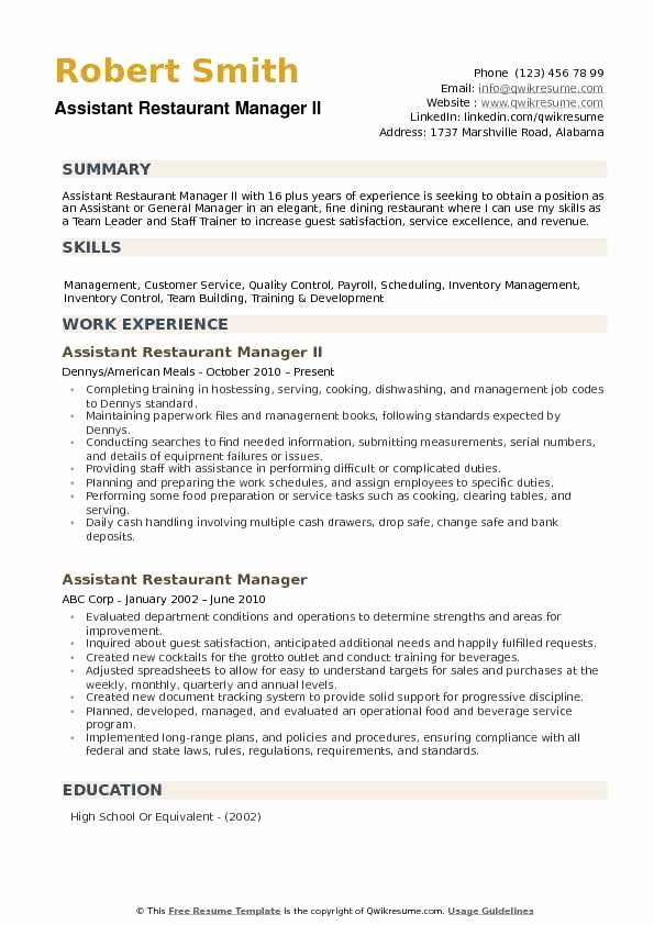 Restaurant General Manager Resume Samples Unique assistant Restaurant Manager Resume Samples
