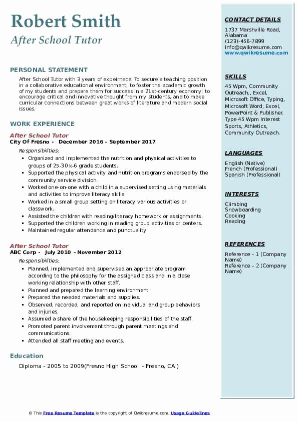 Resume after High School Awesome after School Tutor Resume Samples