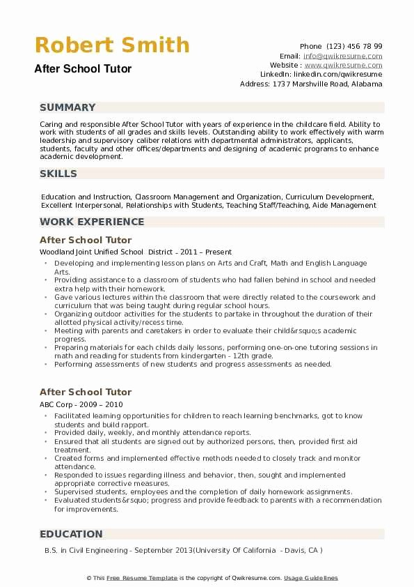 Resume after High School Inspirational after School Tutor Resume Samples