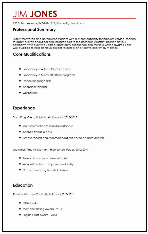 Resume after High School Lovely 12 13 Research assistant Cv Template