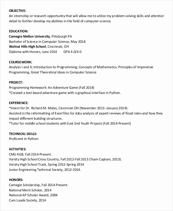 Resume after High School New 44 Sample Resume Templates