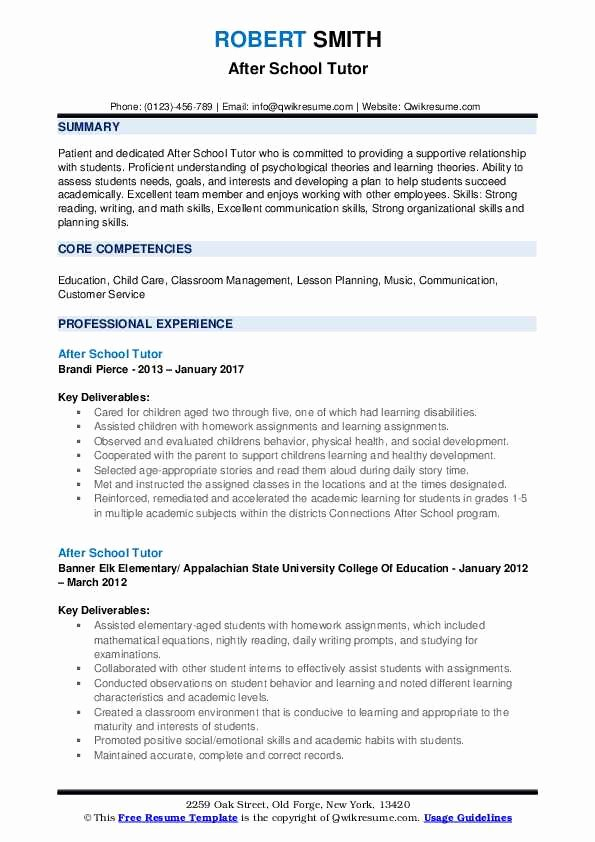 Resume after High School New after School Tutor Resume Samples