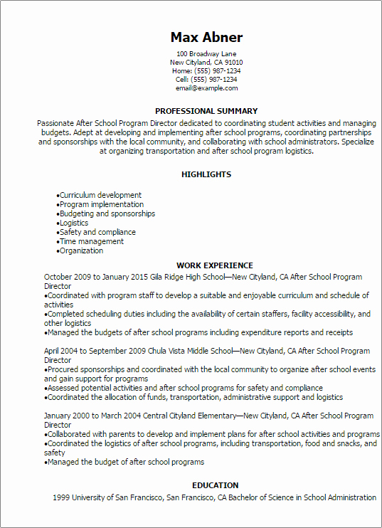 after school program director resume