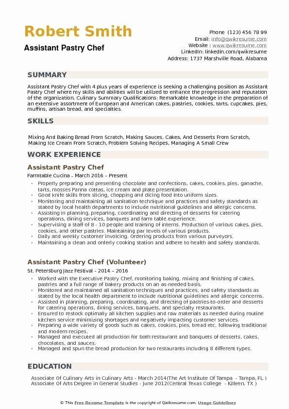 Resume for A Chef Beautiful assistant Pastry Chef Resume Samples