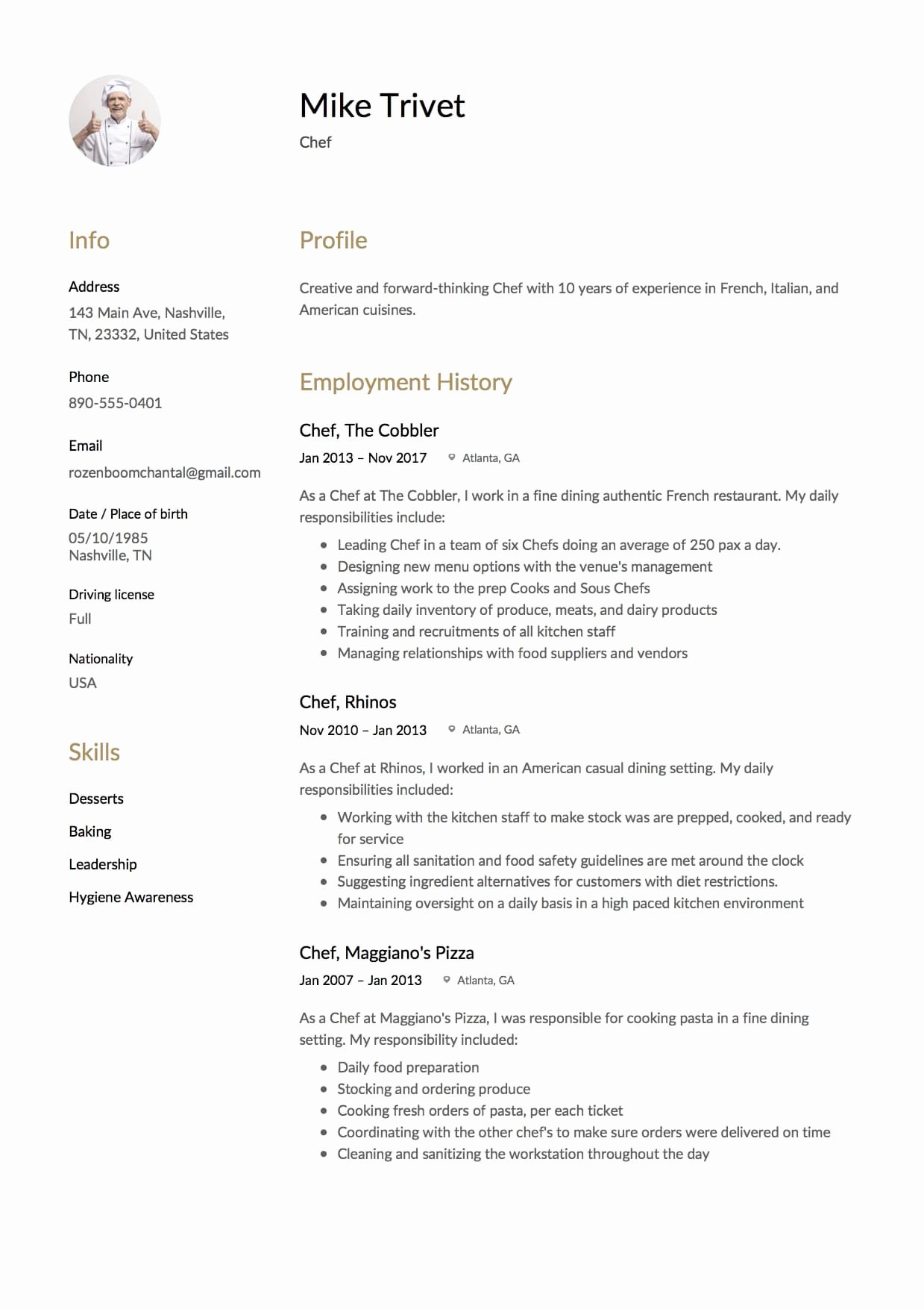 Resume for A Chef Elegant 12 Chef Resume Sample S 12 Different Designs 2018
