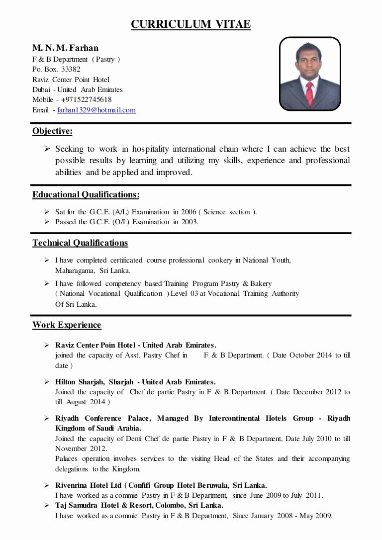 Resume for A Chef Elegant asst Pastry Chef Cv