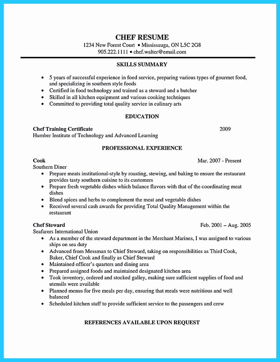 Resume for A Chef Elegant Excellent Culinary Resume Samples to Help You Approved