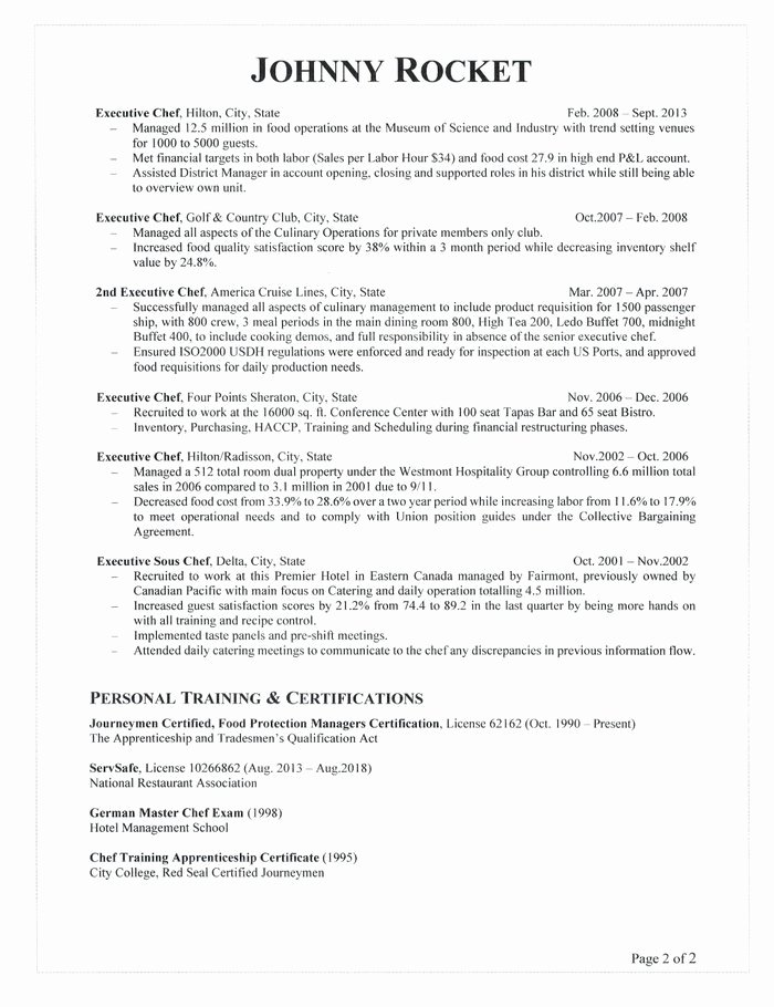 Resume for A Chef Fresh Executive Chef Resume