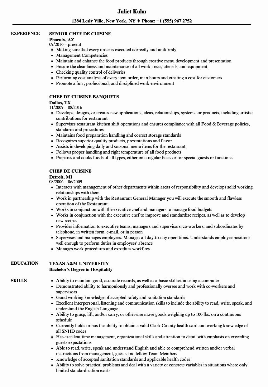Resume for A Chef Inspirational Chef De Cuisine Resume Samples