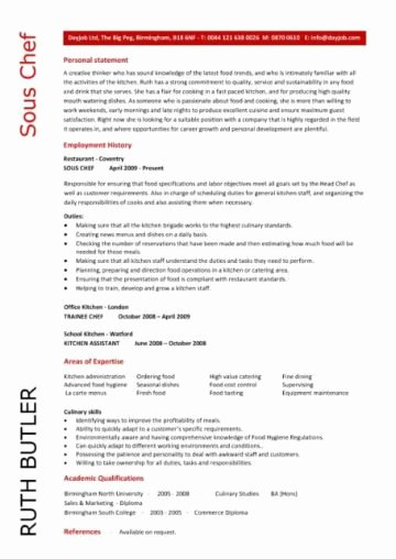 Resume for A Chef Lovely Chef Resume Sample Examples sous Chef Jobs Free