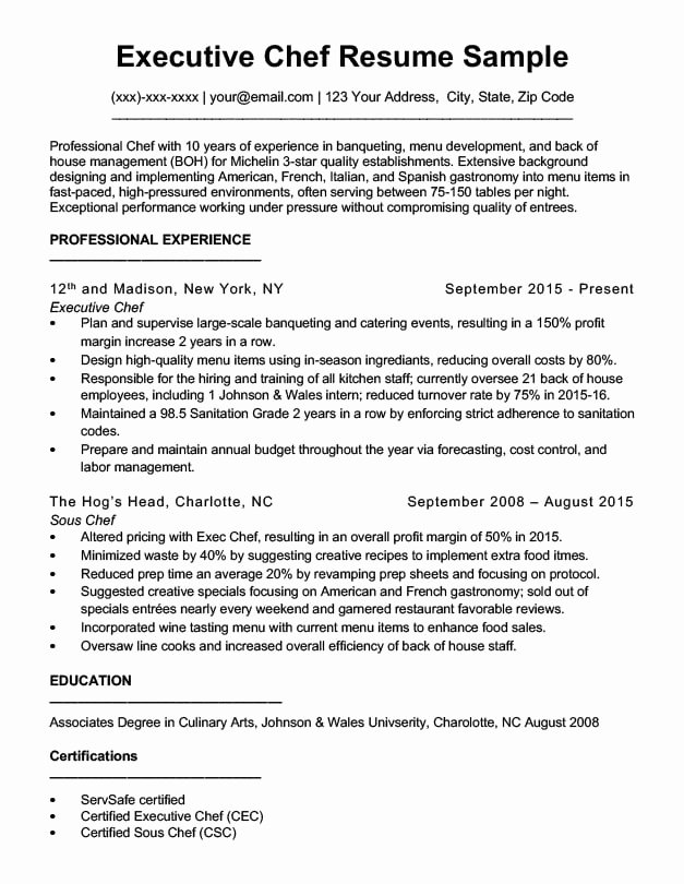 Resume for A Chef Lovely Downloadable Chef Resume Samples & Writing Tips