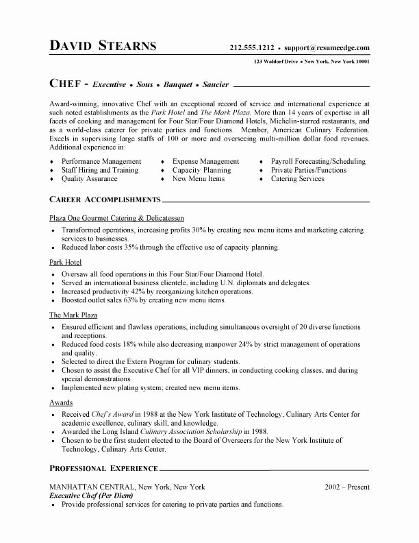 Resume for A Chef Lovely Professional Resume Cover Letter Sample