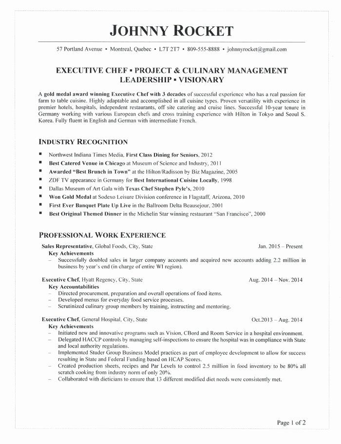 Resume for A Chef Luxury Executive Chef Resume
