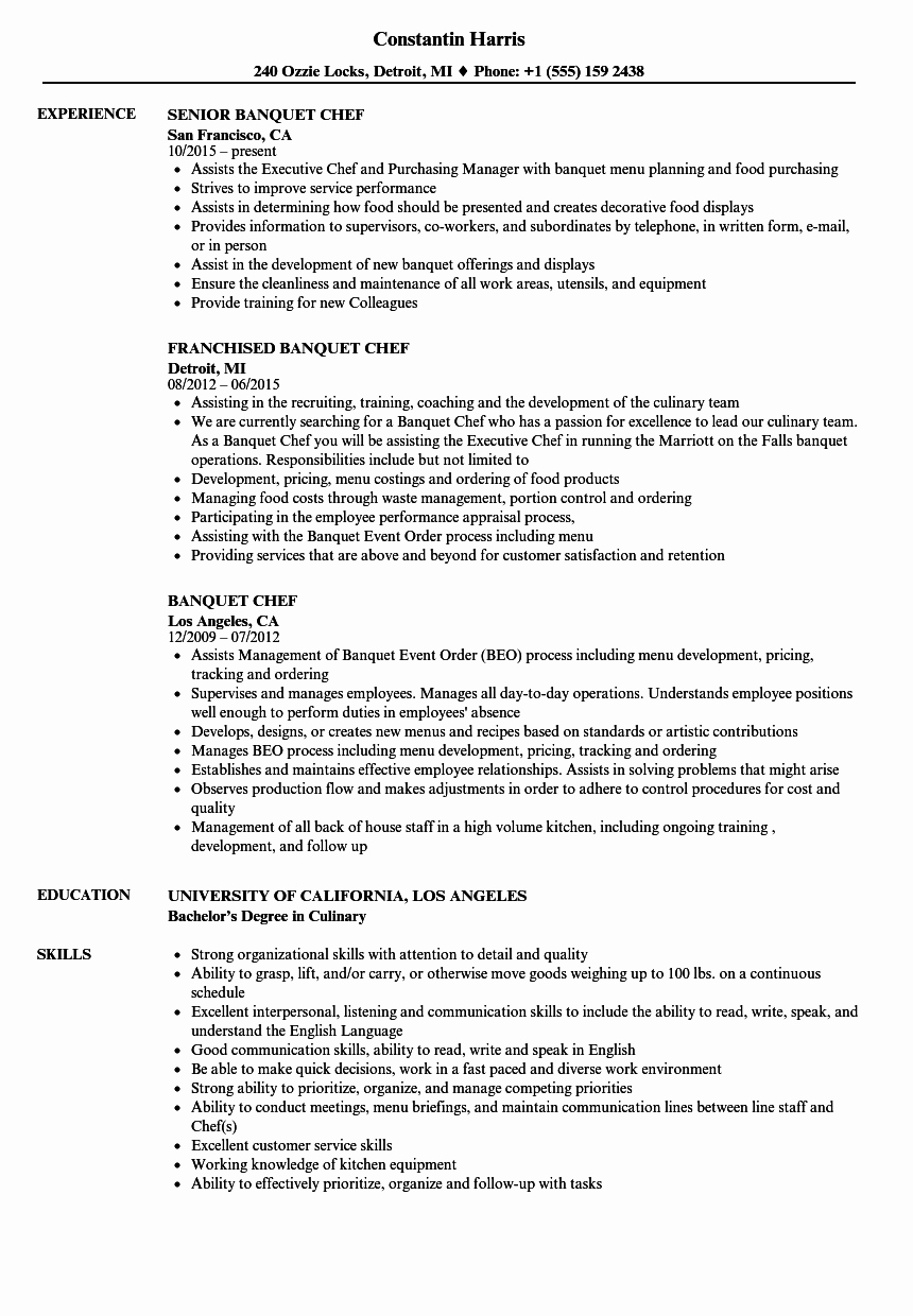 Resume for A Chef New Banquet Chef Resume Samples