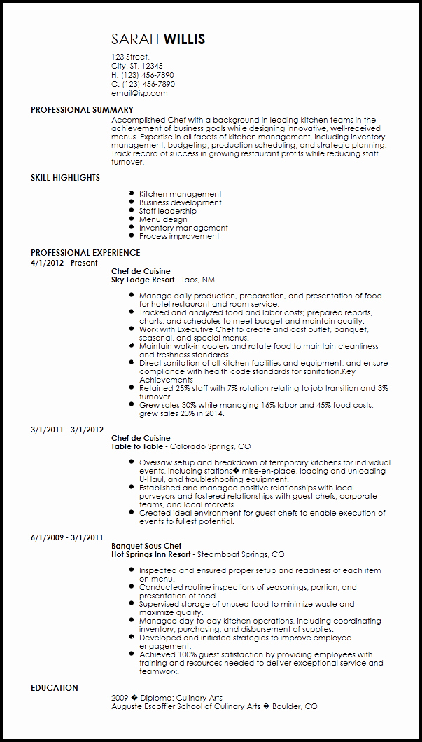 Resume for A Chef New Free Creative Chef Resume Templates