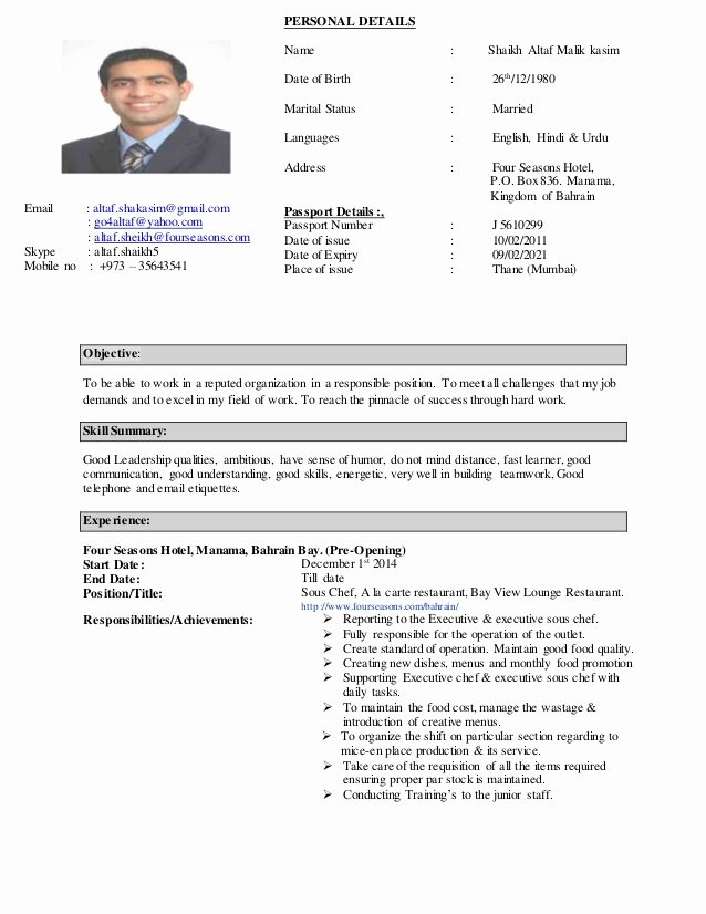 Resume for A Chef Unique Chef Altaf C V 2015
