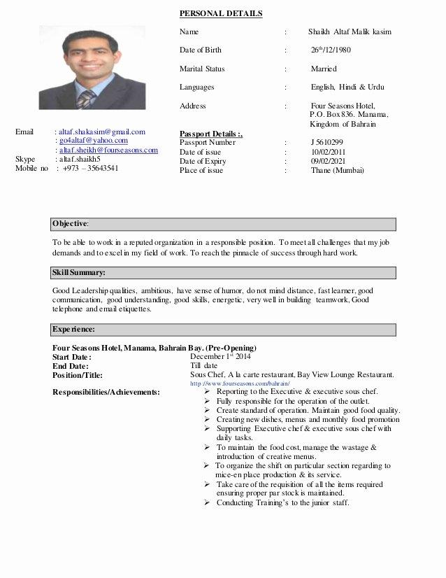 Resume for A Chef Unique Chef Altaf C V 2015