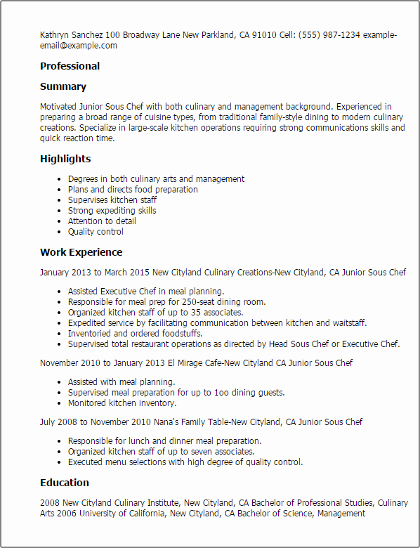 Resume for A Chef Unique Culinary Resume Templates to Impress Any Employer