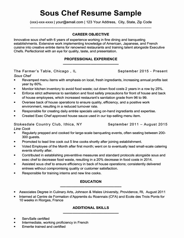 Resume for A Chef Unique Downloadable Chef Resume Samples & Writing Tips