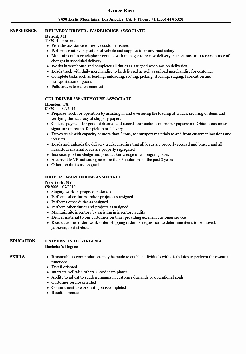 Resume for A Warehouse Job Awesome 10 Resumes for Warehouse Jobs