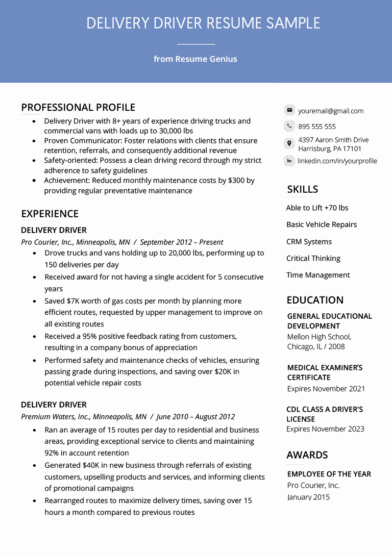 Resume for A Warehouse Job Beautiful Delivery Driver Resume Example & Writing Tips