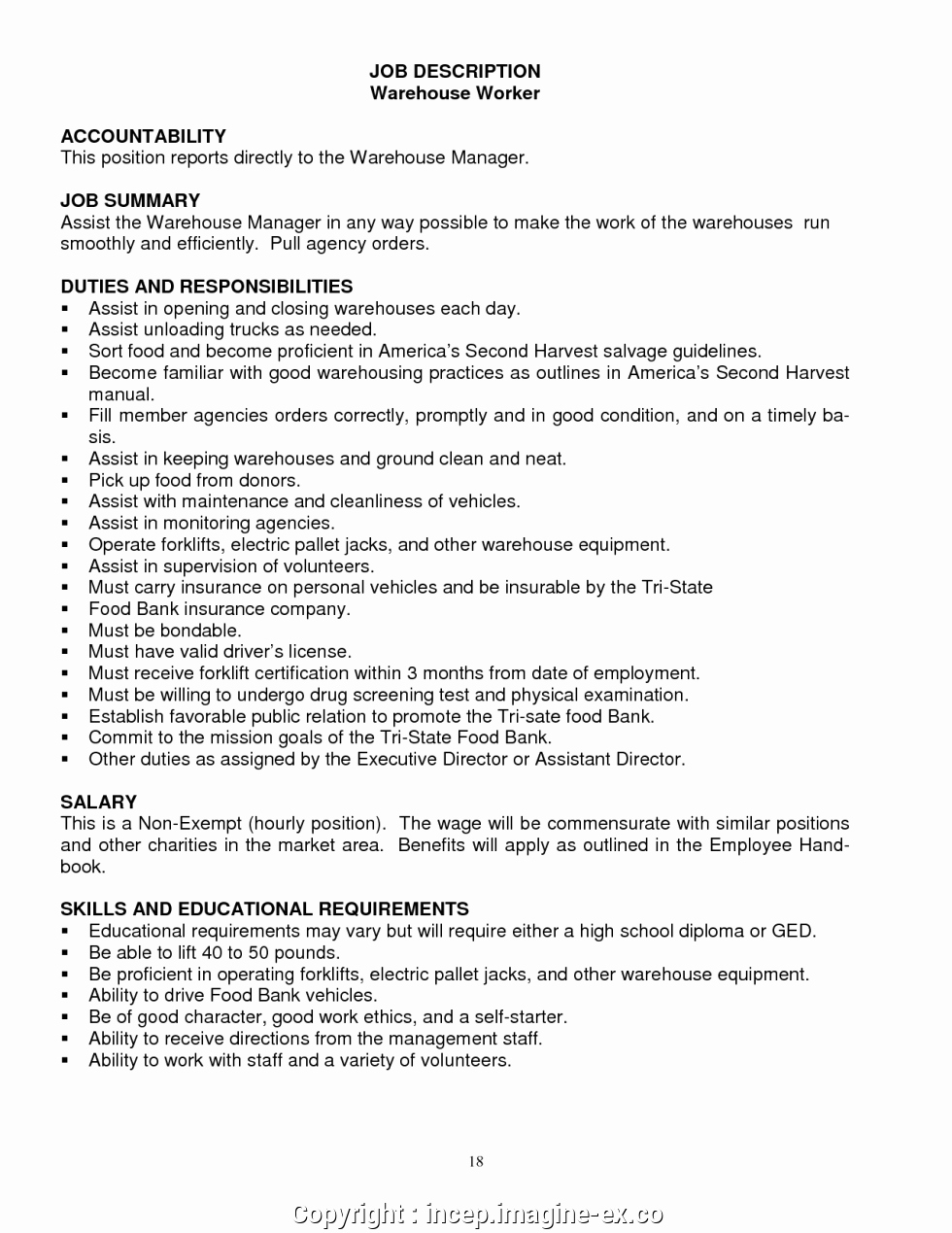 Resume for A Warehouse Job Best Of Free Warehouse Description for Resume Warehouse Job