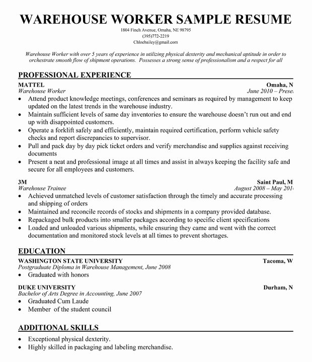 Resume for A Warehouse Job Best Of Warehouse Worker Resume Sample Resume Panion