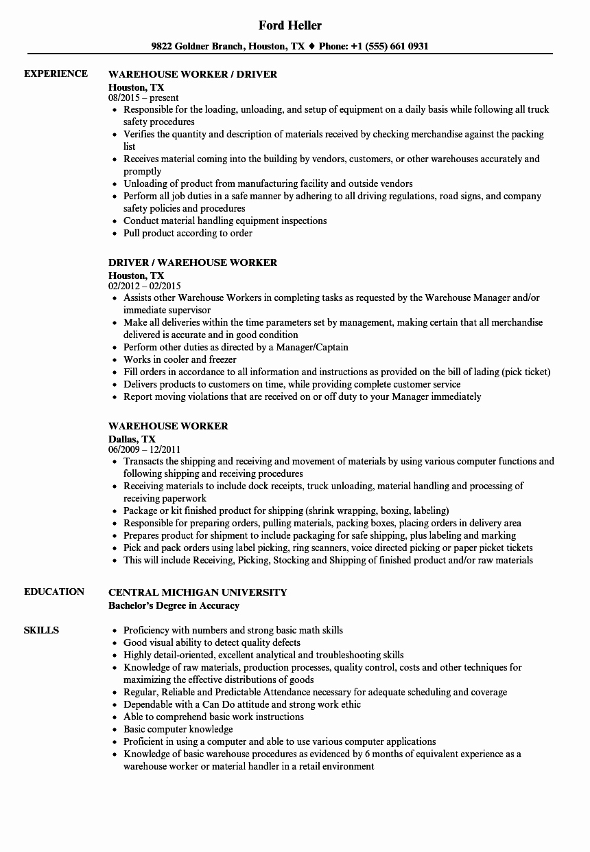 Resume for A Warehouse Job Best Of Warehouse Worker Resume Samples