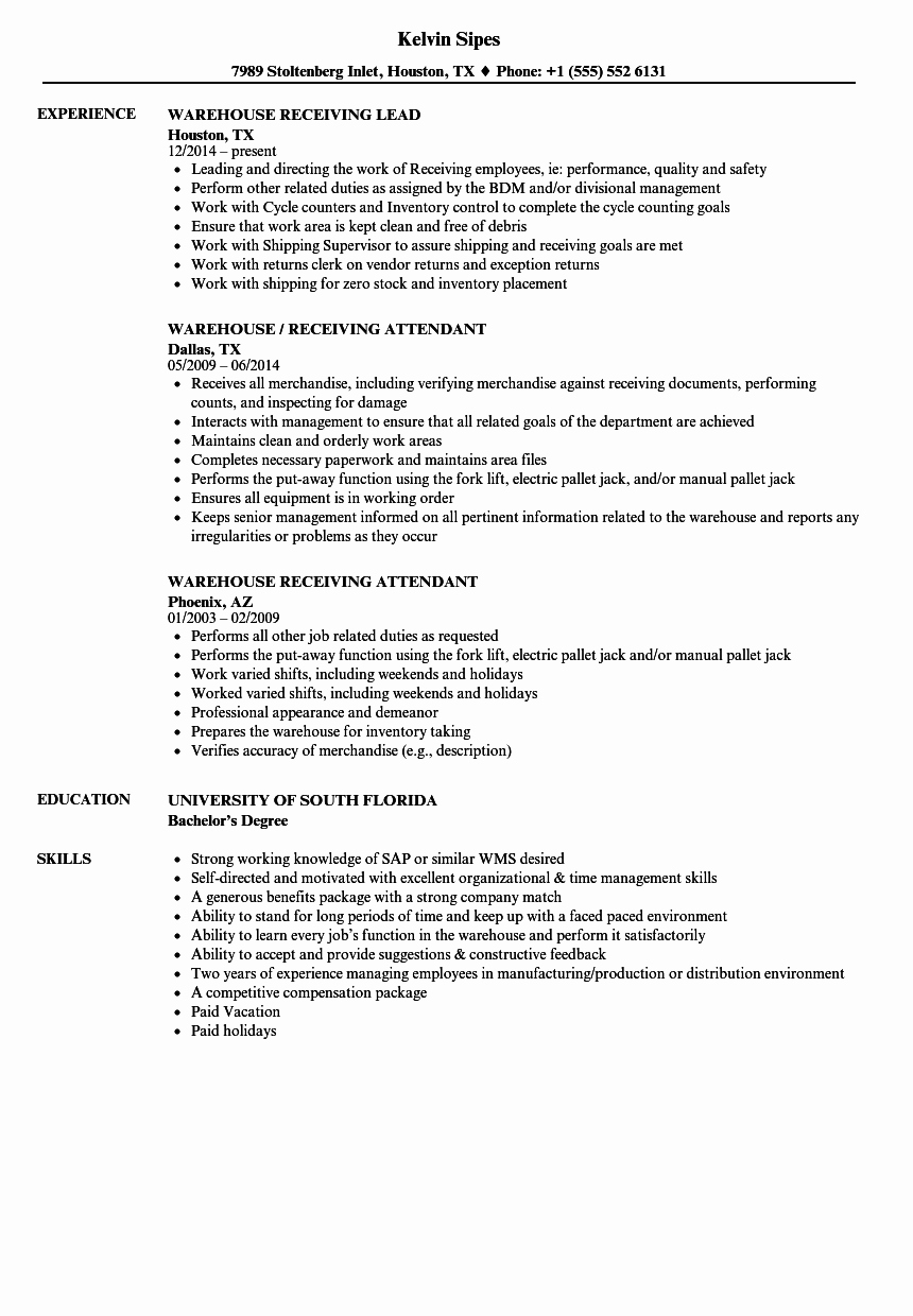 Resume for A Warehouse Job Elegant Warehouse Receiving Resume Samples