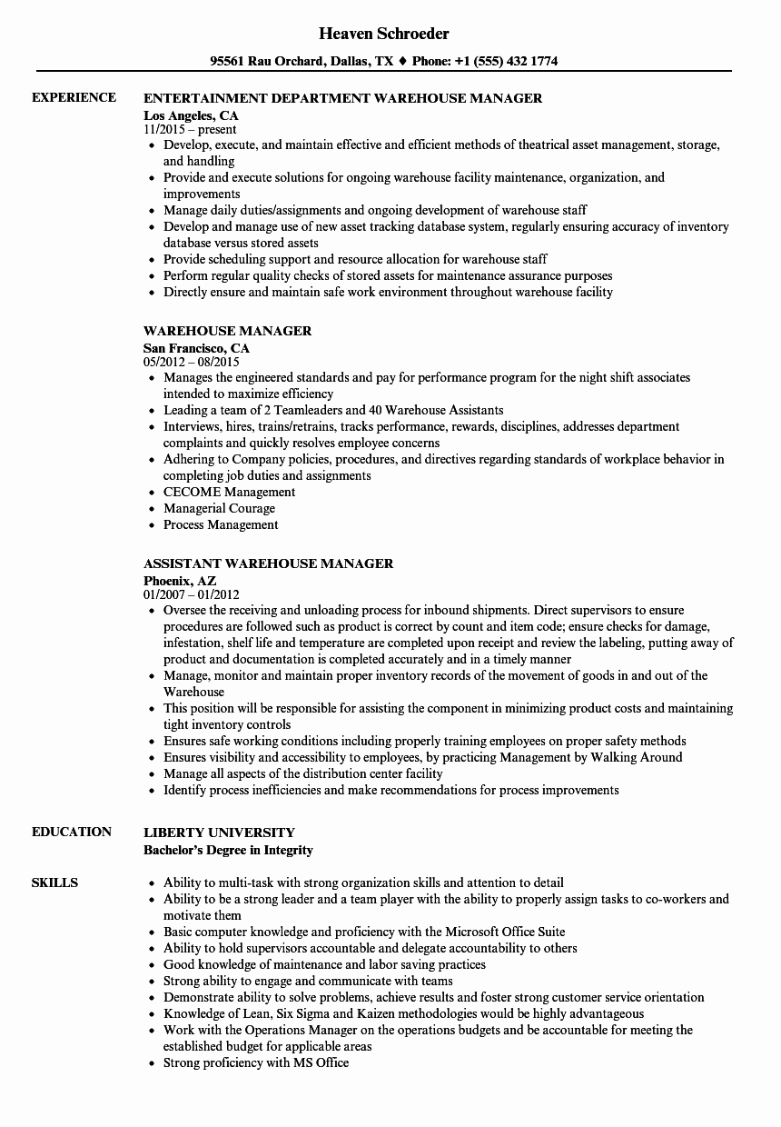 Resume for A Warehouse Job Lovely Warehouse Manager Resume Samples
