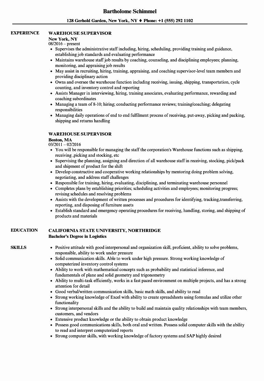 Resume for A Warehouse Job New Warehouse Supervisor Resume Samples
