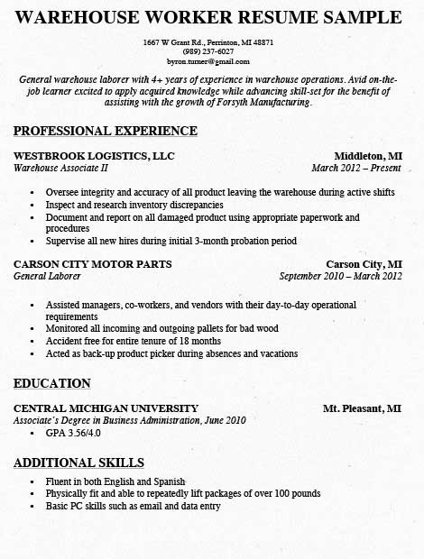Resume for A Warehouse Job New Warehouse Worker Resume Samples