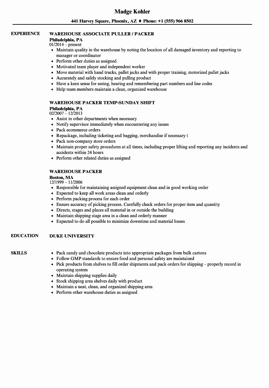 Resume for A Warehouse Job Unique Warehouse Packer Resume Samples