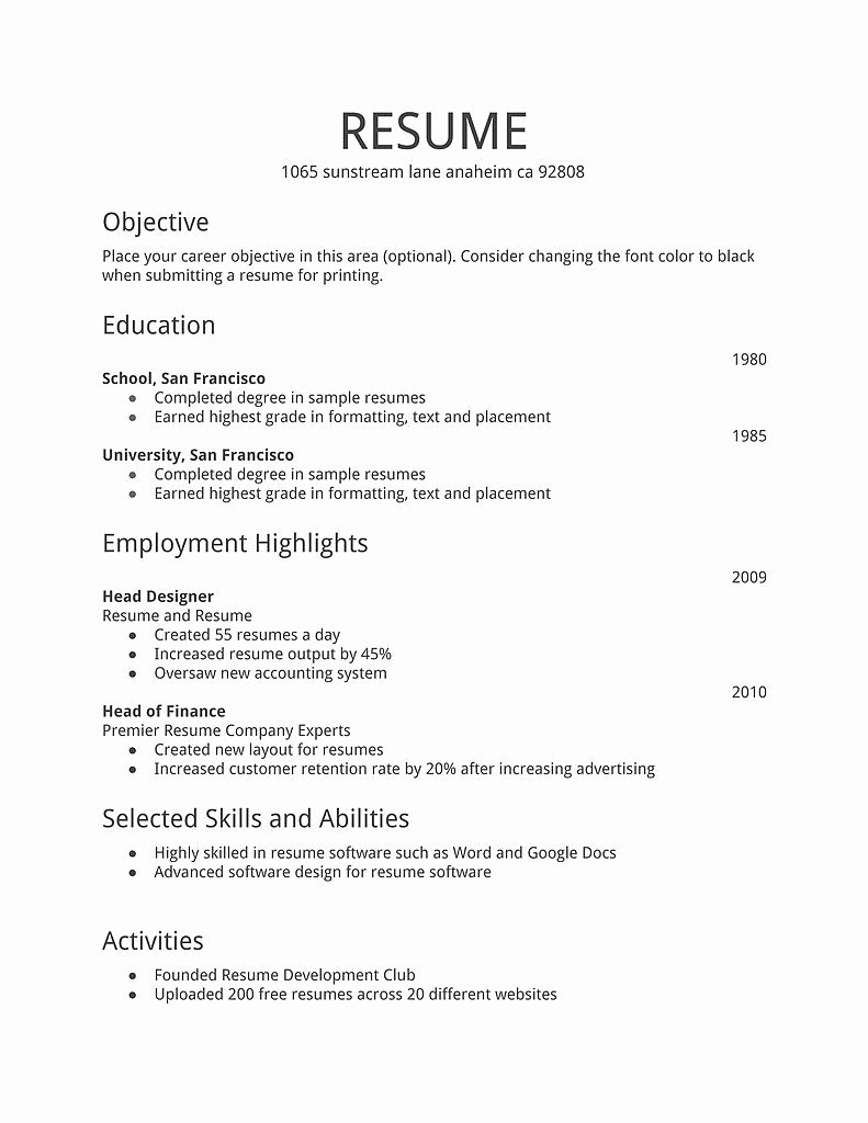 Resume for First Job Examples Beautiful Simple Resume Template Download Free Resume Templates D