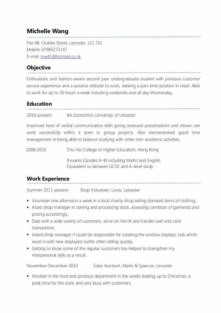 Resume for First Job Examples Lovely Example Part Time Cv