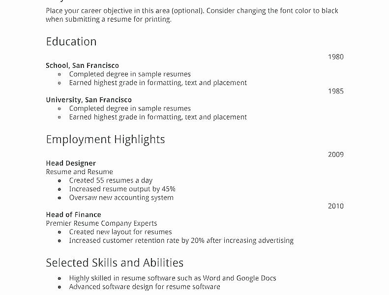 Resume for First Job Examples Lovely Objective for Resume First Job – Paknts
