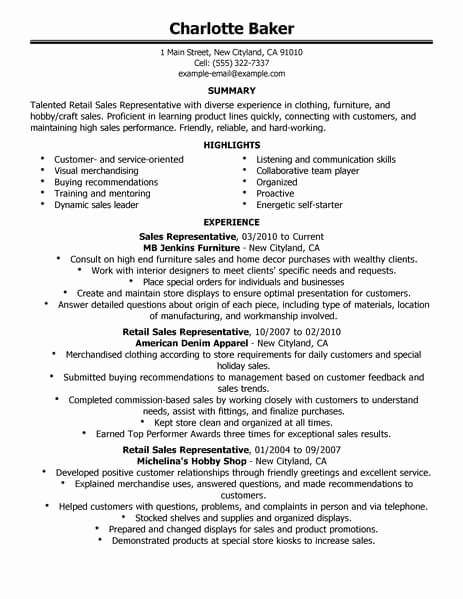 Resume for Sales Representative Position Awesome Best Rep Retail Sales Resume Example