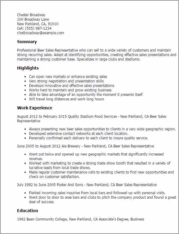 Resume for Sales Representative Position Beautiful 1 Beer Sales Representative Resume Templates Try them