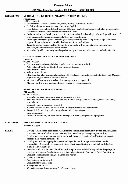 Resume for Sales Representative Position Beautiful Medicare Sales Representative Resume Samples