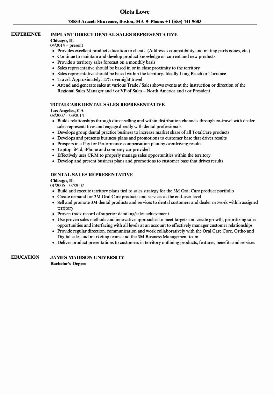 Resume for Sales Representative Position Elegant Dental Sales Representative Resume Samples