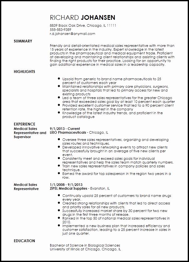 Resume for Sales Representative Position Elegant Free Professional Medical Sales Representative Resume