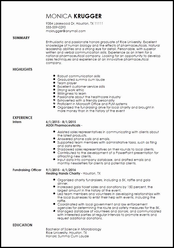 Resume for Sales Representative Position Fresh Free Entry Level Medical Sales Representative Resume