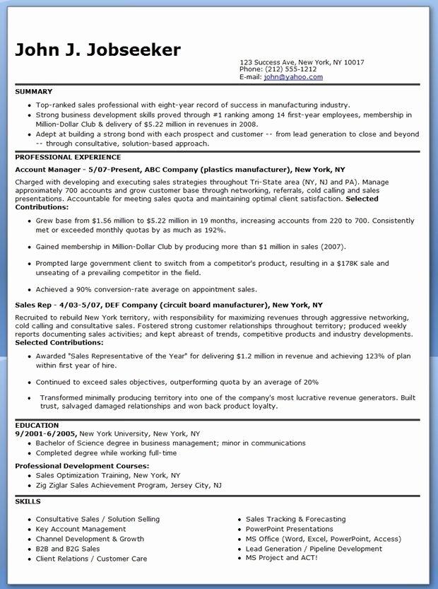 Resume for Sales Representative Position Luxury Manufacturer Sales Representative Resume
