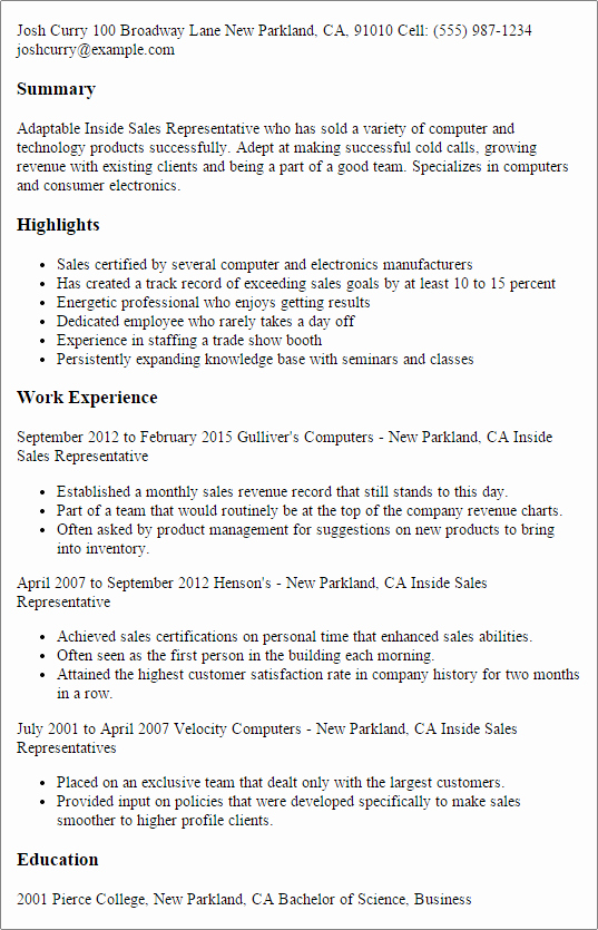 Resume for Sales Representative Position Luxury Professional Inside Sales Representative Templates to