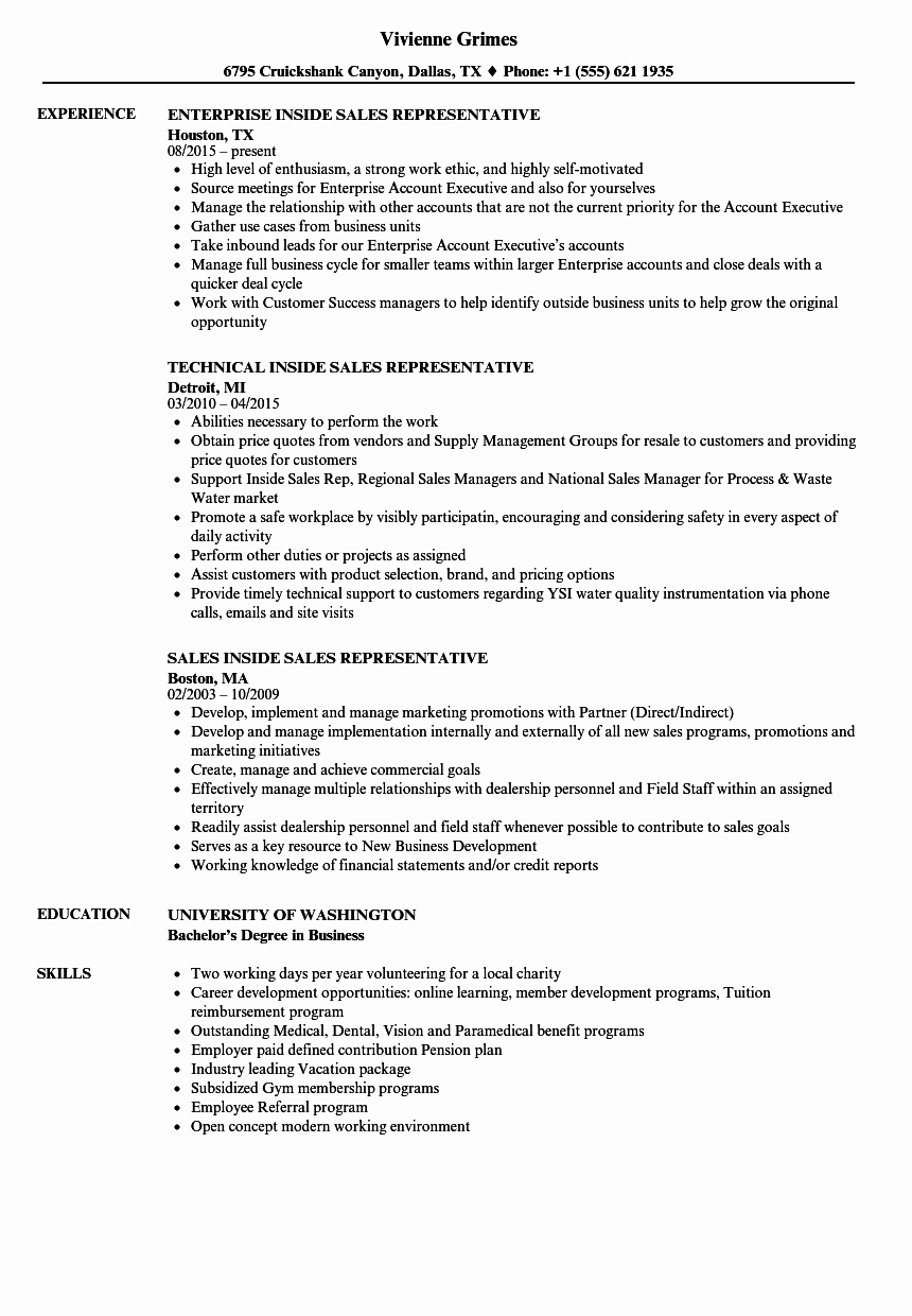 Resume for Sales Representative Position New Sales Inside Sales Representative Resume Samples