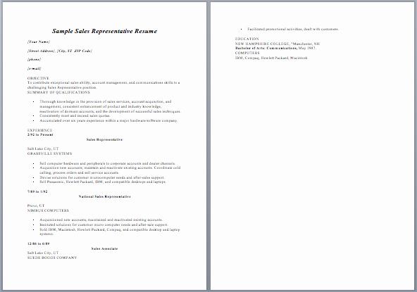 Resume for Sales Representative Position Unique Resume Sales Representative Job Description Sample